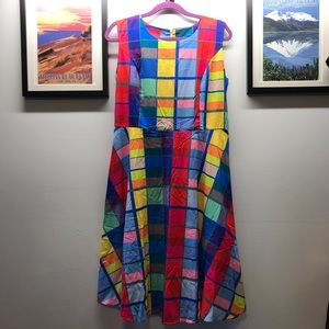 Colorful windowpane fit and flare dress